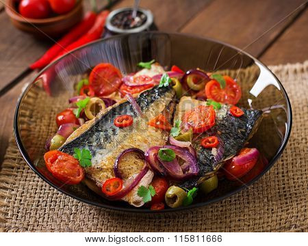 Grilled Mackerel With Vegetables In Mediterranean Style
