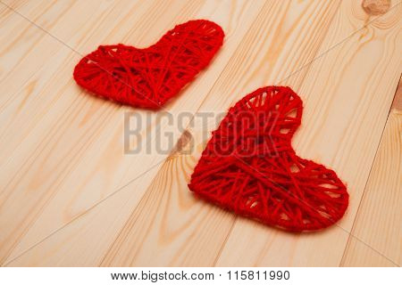 Valentines Day Background. Two Knitted Hearts