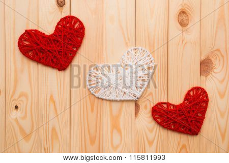Valentines Day Background. Red And White Knitted Hearts