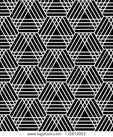 Seamless hexagons and triangles pattern. Latticed geometric texture. Vector art.