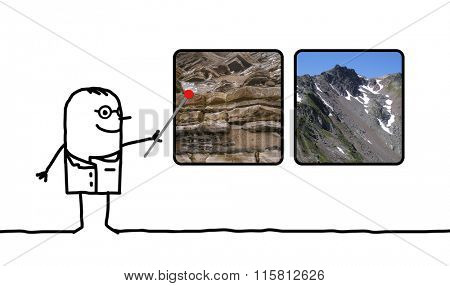 cartoon man geologist showing pictures of rocks and mountains