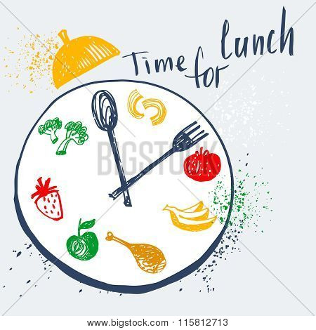 Time For Lunch. Design Element For Advertising Cafe, Restaurant,