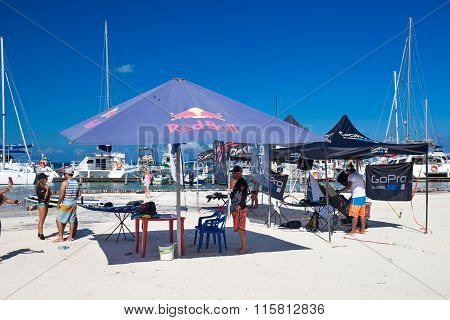 Marina Chac-chi, 1St Carrera Nacional Jet Surf 2015, Red Bull And Go Pro Tents On Beach