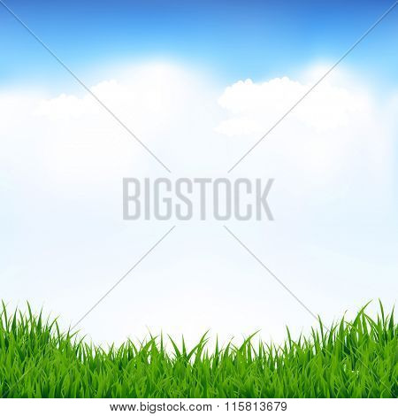 Blue Sky And Greeen Grass With Gradient Mesh, Vector Illustration