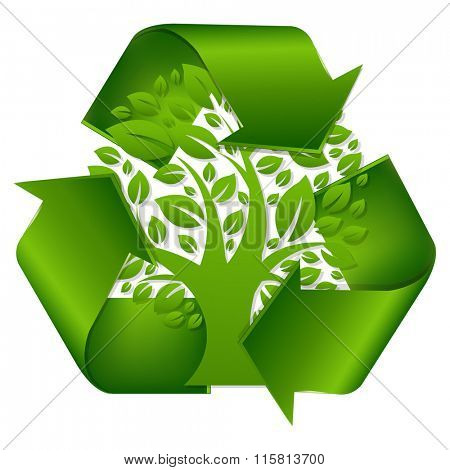 Recycle Symbol With Tree With Gradient Mesh, Vector Illustration