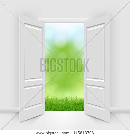 Opened Doors With Blue Sky And Greeen Grass With Gradient Mesh, Vector Illustration