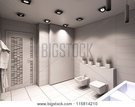 3D Illustration Of The Bathroom Without Color And Textures