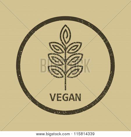 Vector vegan organic emblem, outline monogram, symbol