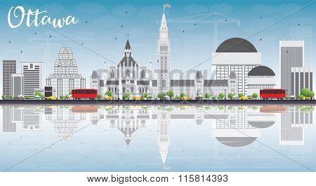 Ottawa Skyline with Gray Buildings, Blue Sky and Reflections. Vector Illustration. Business travel and tourism concept with modern buildings. Image for presentation, banner, placard and web site.