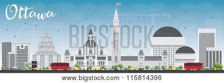 Ottawa Skyline with Gray Buildings and Blue Sky. Vector Illustration. Business travel and tourism concept with modern buildings. Image for presentation, banner, placard and web site.
