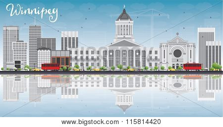 Winnipeg Skyline with Gray Buildings, Blue Sky and Reflections. Vector Illustration. Business Travel and Tourism Concept with Modern Buildings. Image for Presentation Banner Placard and Web Site.