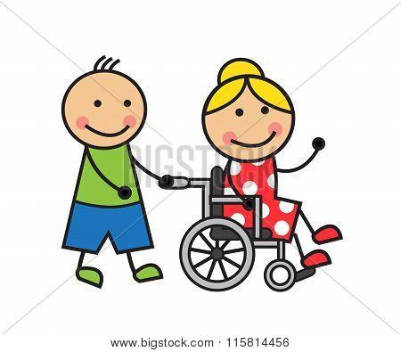 Cartoon woman on a wheelchair