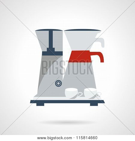 Coffee making vector icon. Flat color style