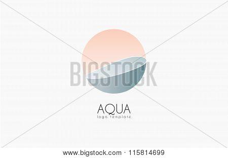 Aqua logo. Logo template. Water logo. Spa logo. Water concept logotype. Circle logo