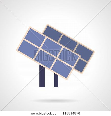 Saving energy flat color vector icon. Solar panels