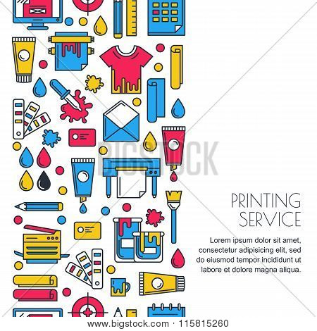 Vector Seamless Vertical Background With Flat Printing Icons In Cmyk Colors. Concept For Copy Center