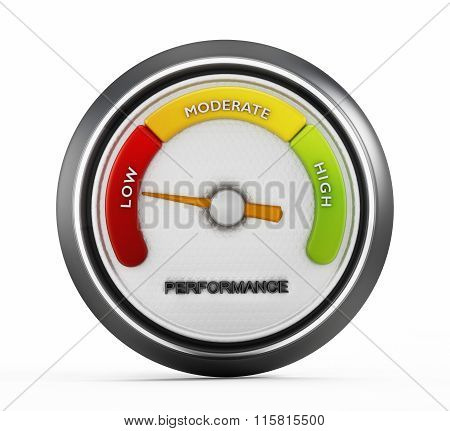 Low performance meter gauge isolated on white background
