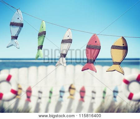 Fish Hanging Peg Buoy Summer Sea Ocean Fence Concept