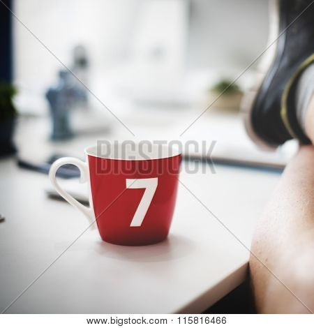 Lucky Seven Coffee Cup Relaxation Carefree Concept