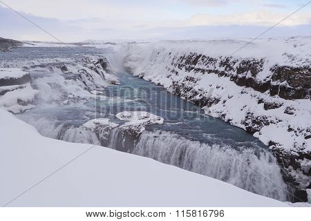 Famous Waterfall Gullfoss, Iceland