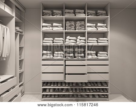 3D Illustration Of The Wardrobe Room In Light Tones. Render Without Textures And Shaders