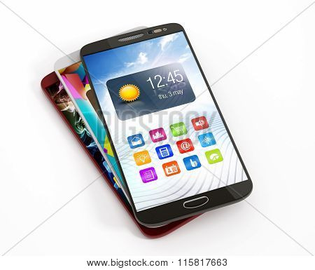 Smartphones stack with different screens isolated on white background.