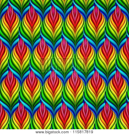 Seamless pattern with abstract leaves. Vector, EPS 10.
