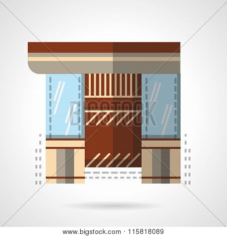 Jewelry shop storefront flat vector icon