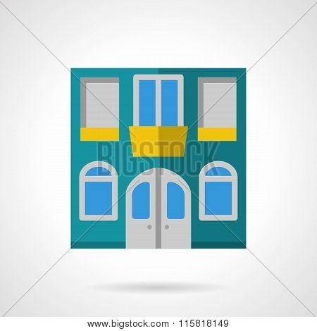 House facade flat color vector icon
