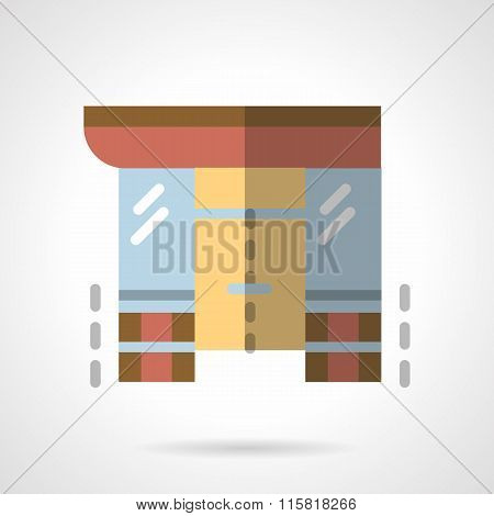 Storefronts flat color vector icon. Supermarket