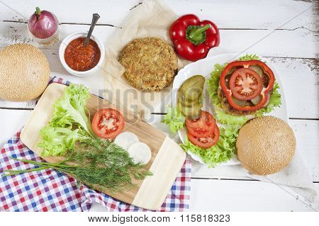 Homemade hamburger on white plate