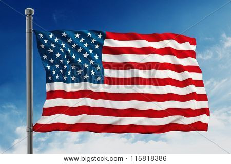 United States of America flag consisting of blue red and white colors