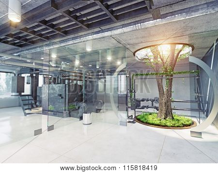 eco style factory interior. 3d concept