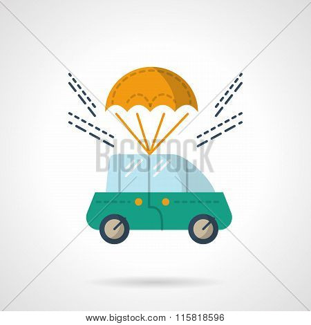 Car purchase and delivery flat color vector icon