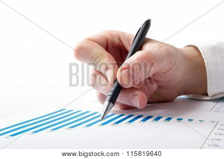 Businessman counting losses and profit working with statistics, analyzing financial the results on w