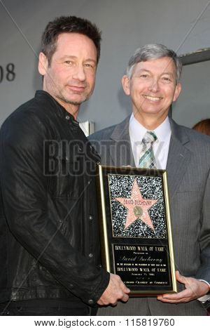 LOS ANGELES - JAN 25:  David Duchovny, Leron Gubler at the David Duchovny Hollywood Walk of Fame Star Ceremony at the Fox Theater on January 25, 2016 in Los Angeles, CA