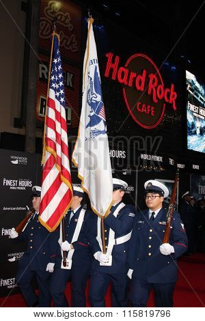LOS ANGELES - JAN 25:  Coast Guard Honor Guard at the The Finest Hours Los Angeles Premiere at the TCL Chinese Theater IMAX on January 25, 2016 in Los Angeles, CA