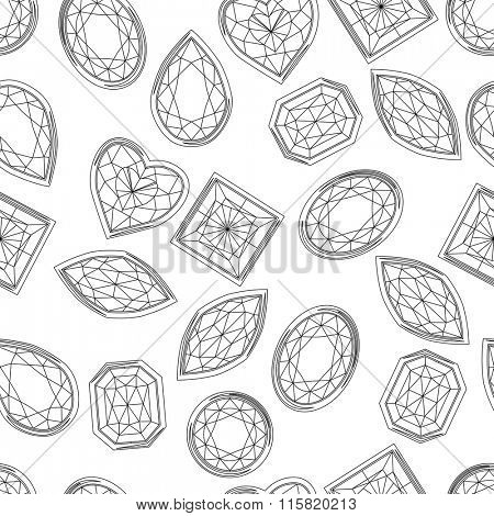 Seamless pattern with contour diamonds. Black and white color. Endless texture for your design, romantic greeting cards, announcements, fabrics.