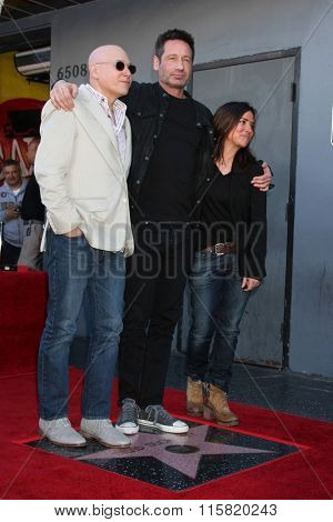 LOS ANGELES - JAN 25:  Evan Handler, David Duchovny, Pamela Adlon at the David Duchovny Hollywood Walk of Fame Star Ceremony at the Fox Theater on January 25, 2016 in Los Angeles, CA