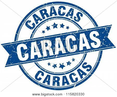 Caracas blue round grunge vintage ribbon stamp