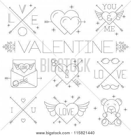 Valentine day labels and symbols. Thin line vector minimalist icon set.