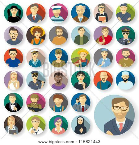 People characters and professions  avatars. Flat style vector icons set