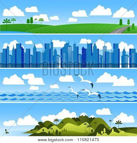 Landscape banners vector background set.