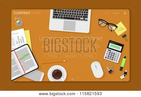 Flat design creative  workspace concept for web design. Concept for web site and promotion.