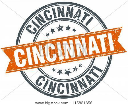 Cincinnati orange round grunge vintage ribbon stamp
