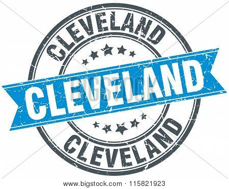 Cleveland blue round grunge vintage ribbon stamp