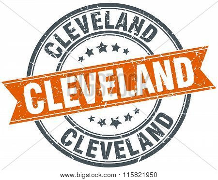 Cleveland orange round grunge vintage ribbon stamp