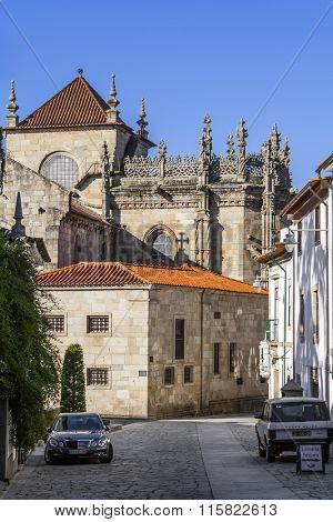 Braga, Portugal - December 27, 2015: Braga Cathedral, the oldest of all cathedrals in Portugal and a main Catholic worship place. Back facade with apse.