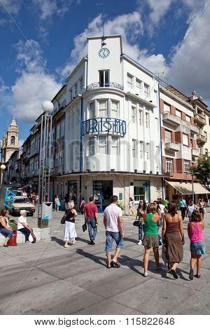 Braga, Portugal - July 27, 2015: Braga Tourism in the Liberdade Avenue, Portugal.