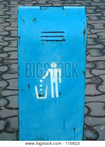 Garbage Collect Sign On Dustbin